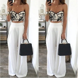 Women Wide Leg Pants High Waist Sexy Side Zipper Pockets Chiffon Trousers