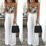 Women Wide Leg Pants High Waist Sexy Side Zipper Pockets Chiffon Trousers -white
