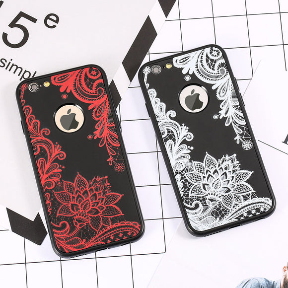Flower 360 Case For iphone 7 6 6S Plus Cover 2 in 1 Shockproof Armor Sexy Paisley Floral Soft TPU Silicone Phone Cases