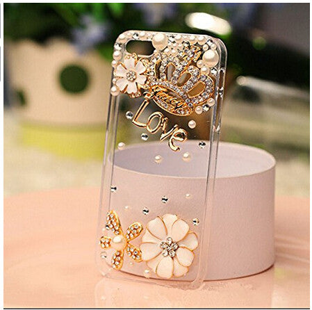 Rhinestone bling crystal pearl flower Crown Diamond clear transparent back cover luxury phone case for iphone 5 5S