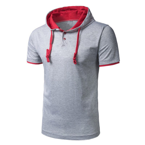 Mens T Shirt Fashion Hooded Solid Color Plain Short-Sleeve Slim Fit Tees