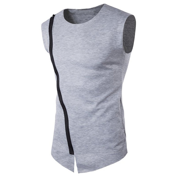 Mens Sleeveless O Neck Top Gyms-Bodybuilding Tank Top Solid Plain T Shirts