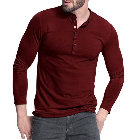 Mens Shirt Tee Long Sleeve Stylish Slim Fit Plain Button Placket Casual T-shirts