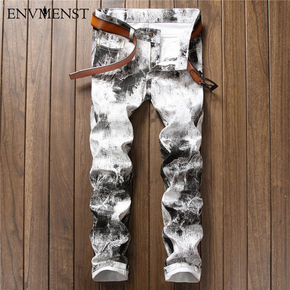 Mens Biker Jeans Slim Fit Denim White Jeans Skinny Jeans Casual