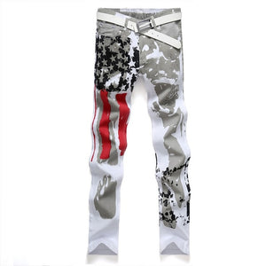 Men Casual American US Flag Printed Jeans Graffiti Print Stretch Jean White Denim