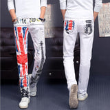 Men Casual American US Flag Printed Jeans Graffiti Print Stretch Jean White Denim-UK