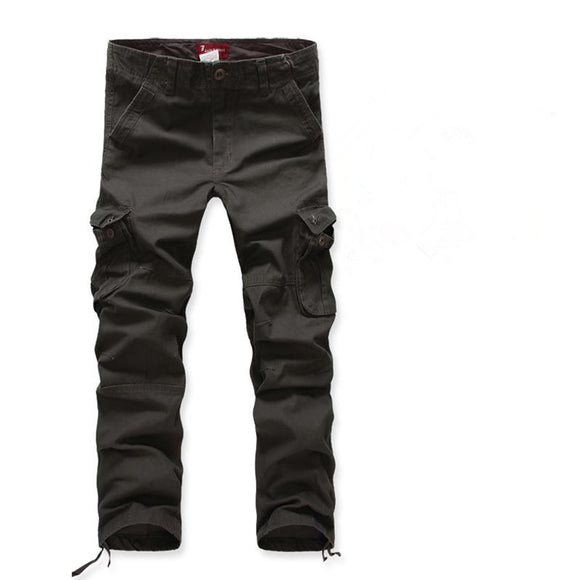 Mens Multi-Pockets Cargo Pants Full-Length Loose Pants