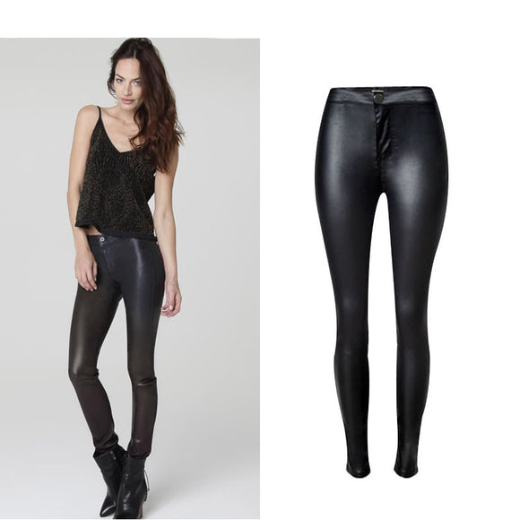 Jeans High-Waist Stretchable Coated PU Leather Motorcycle Skinny Pencil Full Length Black Pants