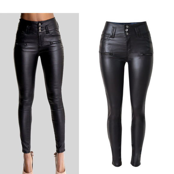 Women Fashion Pants Black Coated PU Leather High-Waist Button Decorated Slim Skinny Butt Lift Sexy Black Pants