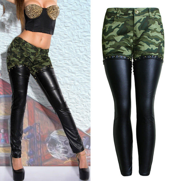 Jeans Green Camouflage PU Leather Stitching Skinny Pencil Full-Length Rivet Pants