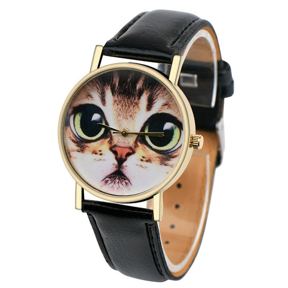 Clock Women Cute Cat PU Leather Strap Quartz-Watch Wrist Watches