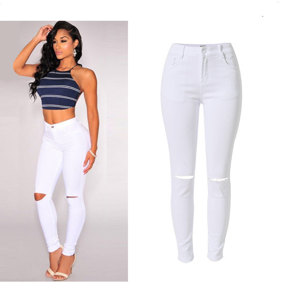 High-Waist Jeans Stretch Knee Hole White Skinny Pencil Pants Ripped Jeans