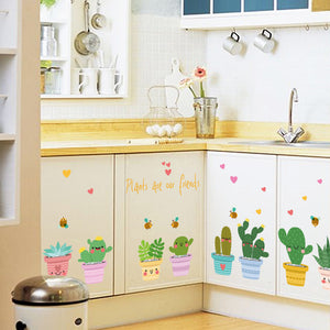 Cartoon Colorful Plants Line Children Room Wall Sticker