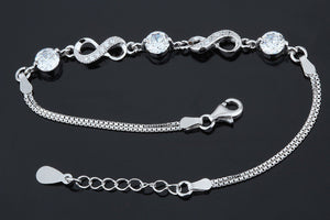 100% 925 Sterling Silver Infinity Love Bracelet Solid Silver Chain Bracelet - A Sheek Boutique