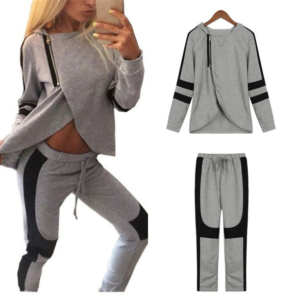Fashion Women Tracksuits Hooded Zipper Sweatshirts Pants Casual 2 Pcs Set Hoodies