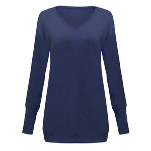 Womens Knitted Sweater Sexy Pullover  Loose Causal V Neck Long Sleeve