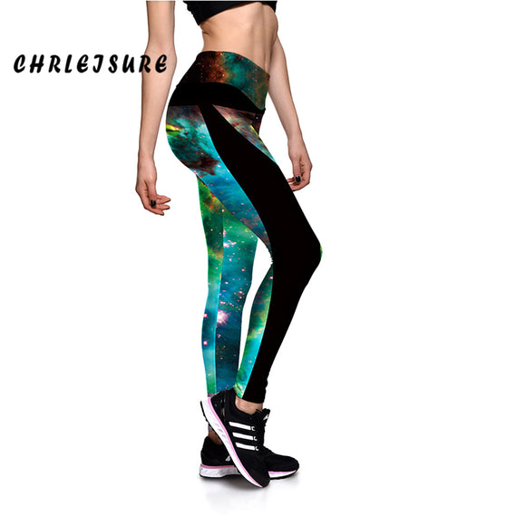 Green Galaxy Print High Waist Leggings Push Up Legging