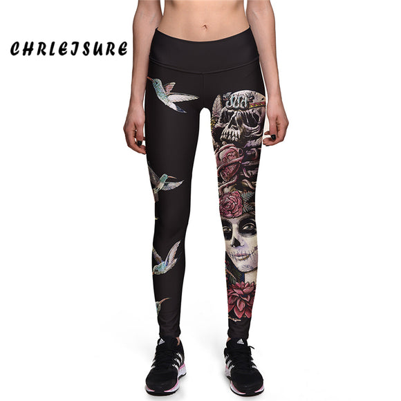 High Waist Black Long Flower Bird Skull Animal Printing Gothic Leggings