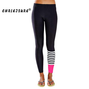 Stripes Print Leggings Color Patchwork Workout Fitness Leggings
