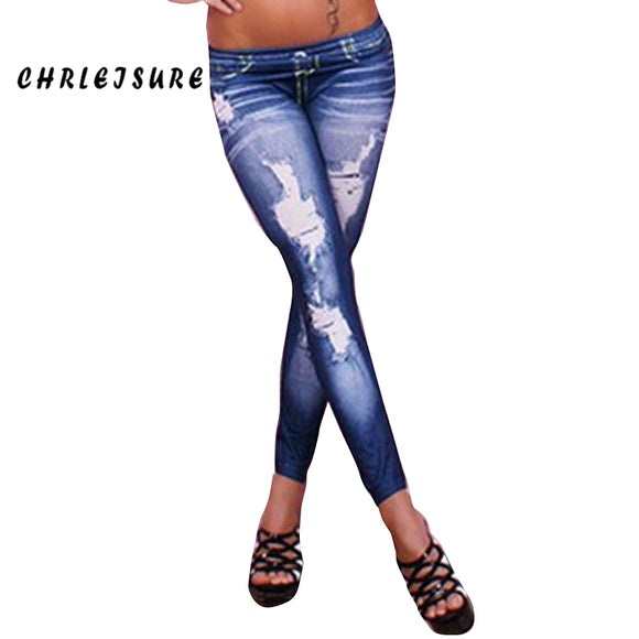Denim Leggings Black Blue Jeans Slim Elastic Leggings