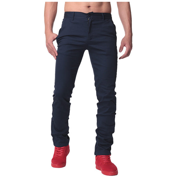 Mens Straight Pants Chinos Casual Slim Fit Solid Color Cotton Pants
