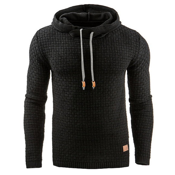 Sweat Hoodie Solid Color Knitted Hooded Sweatshirt Casual Pullover