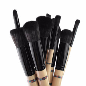 10pcs/set Professional Cosmetics Makeup Brush With Geometric Printing on Handle