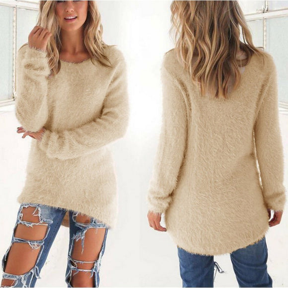 Womens Winter Warm Sweater Plain Knitting Pullover Fashion Long Sleeve Slim