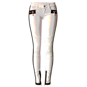 Women Pencil Jeans Low Waist Skinny Pants WhiteWith Zippers