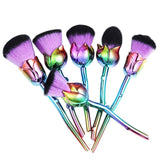 6pcs/set Professional Beauty Rose Shape Makeup Brushes Soft Brush Set