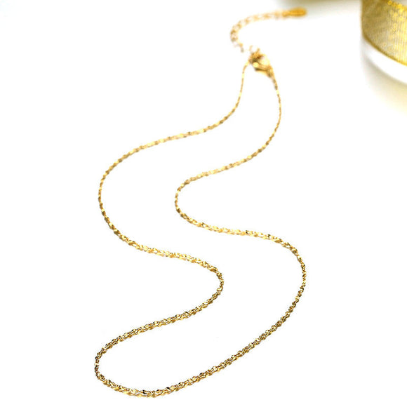 1PC Rose Gold Chain Necklace Golden Tone 45cm Imitation gold necklace