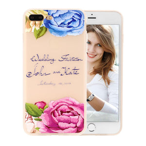 3D Relief Peach Lace Roses Flowers Phone Cases For iPhone 7 6 6s Plus Floral Cartoon Soft TPU Back Cover For iphone 5 5s SE Capa