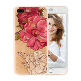 3D Relief Peach Lace Roses Flowers Phone Cases For iPhone 7 6 6s Plus Floral Cartoon Soft TPU Back Cover For iphone 5 5s SE Capa - A Sheek Boutique