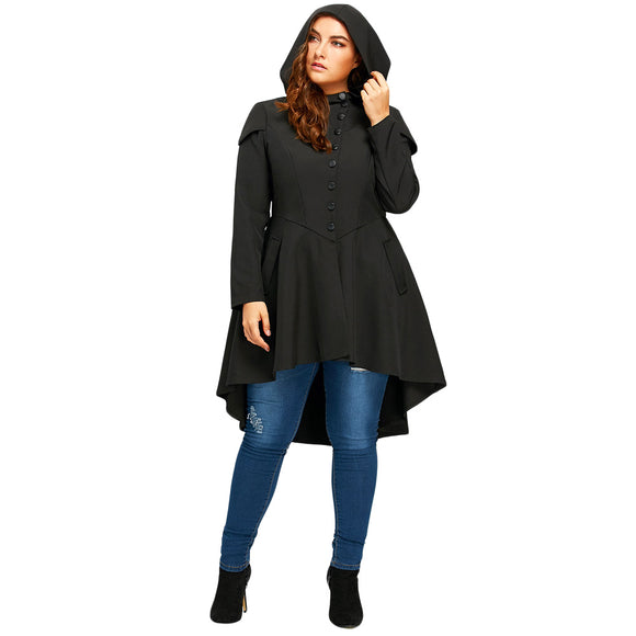 Womens Trendy Plus Size Lace Up High Low Hooded Coat Layered Gothic High Waist Trench