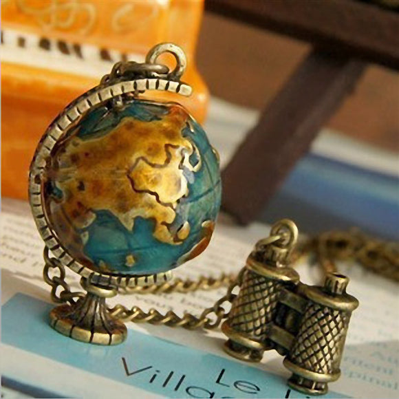 Vintage Globe Earth Telescope Tellurion Enamel Pendant Necklace