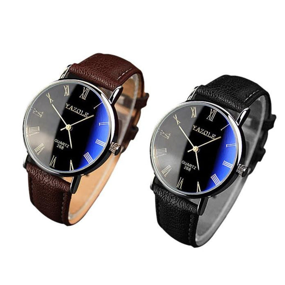 2PC Luxury Fashion Faux Leather Mens Quartz Analog Watch Watches