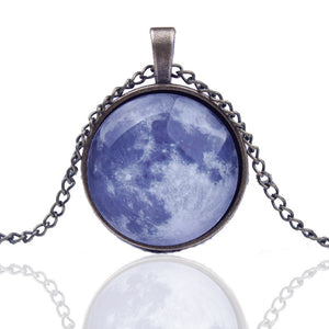 Art Picture Galaxy Pendant Glass Cabochon Antique Bronze Chock Necklace