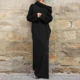 Women Casual Loose Full Sleeve Pockets Dress Hooded Long Maxi Dresses-Black