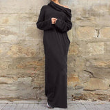 Women Casual Loose Full Sleeve Pockets Dress Hooded Long Maxi Dresses