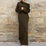 Women Casual Loose Full Sleeve Pockets Dress Hooded Long Maxi Dresses-Army Green