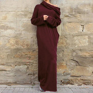 Women Casual Loose Full Sleeve Pockets Dress Hooded Long Maxi Dresses - A Sheek Boutique
