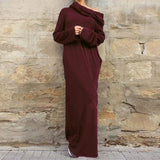 Women Casual Loose Full Sleeve Pockets Dress Hooded Long Maxi Dresses-Burgundy