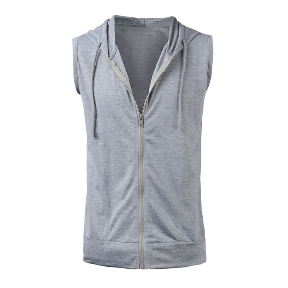 Men Casual Slim Fit Basic Hooded Sleeveless Vest Zipper Hoodies Sweatshirt