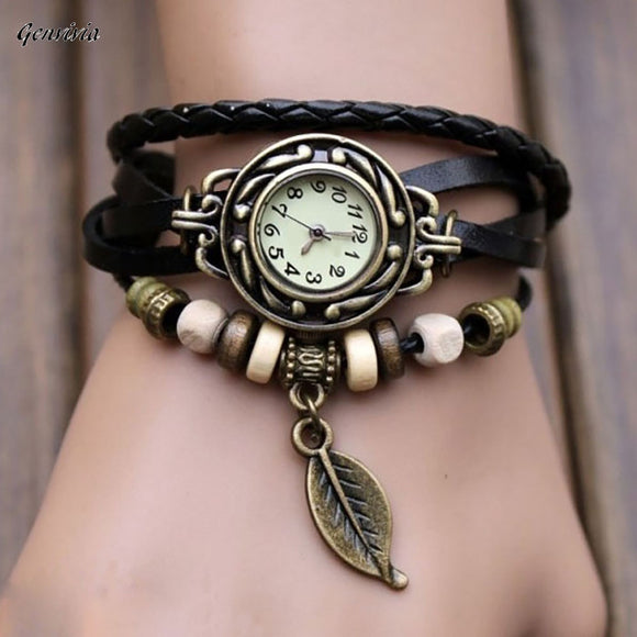 Fashion women wristwatches With Weave Wrap quartz watch PU Leather Leaf Beads