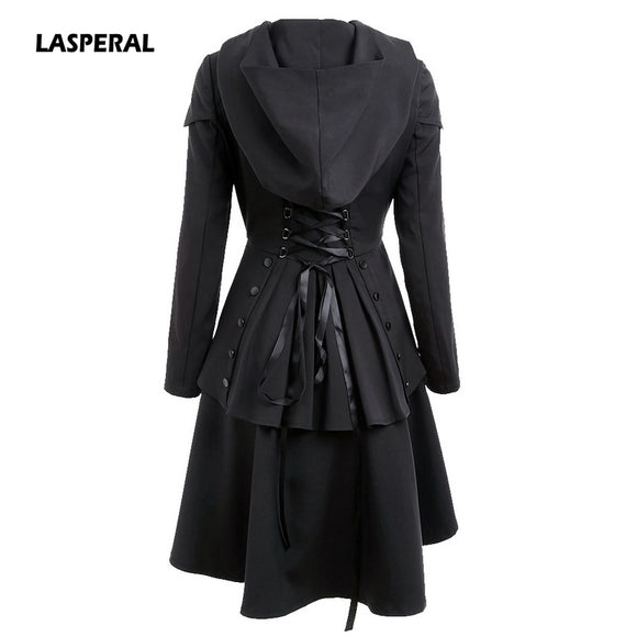Womens Coat Layered Lace Up High Low Hooded Coats Trench Back Cross Bandage