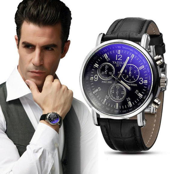 Luxury Fashion Crocodile Faux Leather Mens Analog Watch Watches