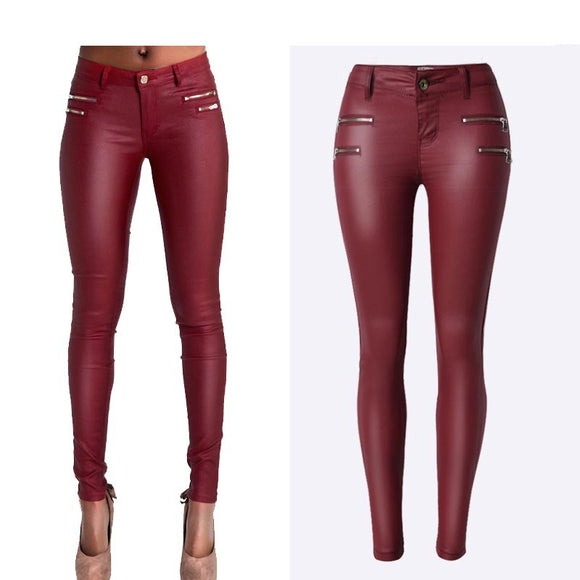 Women High-Waist Fashion Pencil Pant Wine Red Skinny Stretchable Coated Jeans Zipper Decorate Full-length