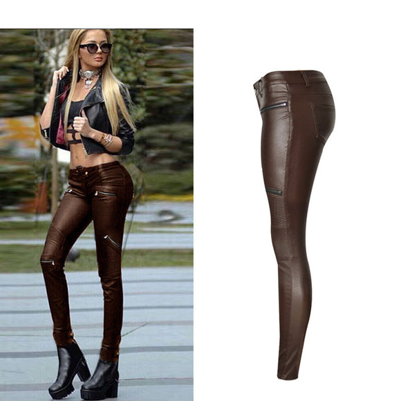 Women Pants PU Leather Coated High-Waist Stretchable Skinny Pants Pleated Full Length Sexy  Coffee Pants