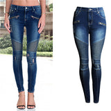 Womens Girlfriend Jeans US Style Automotive Jeans Skinny Slim Fit Denim Pants Biker
