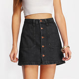 Button Up Denim A Line High Waist Mini Skirts Fashion Casual Pockets Short Skirt - A Sheek Boutique
